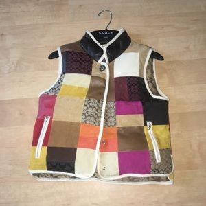 kids coach multi-patterned leather puffy vest